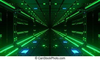 Motion graphics sci fi: futuristic long dark passage with ...