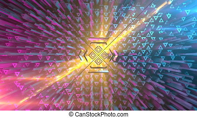 Motion graphics triangular background. Vj abstract 3D...