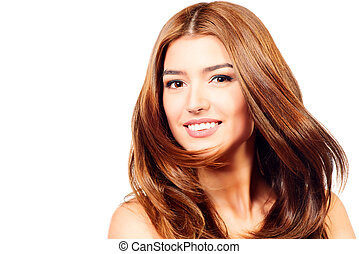 motion hairs - Beautiful smiling girl with fresh pure skin...