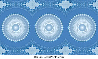 Motion kaleidoscope background in blue and white tone