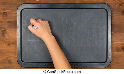 motion main, craie, école, dos, animation, arrêt