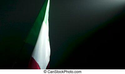 motion., national, italy., drapeau ondulant, lent, flag.