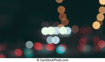 Motion of cars in night time, blurred shot vintage...