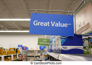 Motion of great value sign on new smart bulb section inside Walmart store