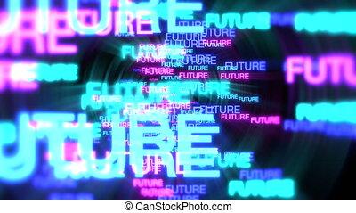 Motion of neon text Future in dark background