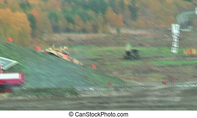 Motion of T90S tank - Tank T-90S. Display of fighting...