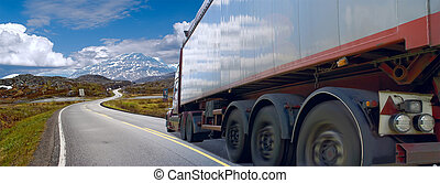Motion of the semi-truck on mountain road