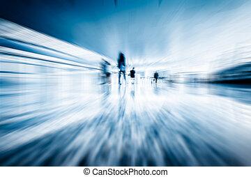 motion passengers - Futuristic Airport interior people...