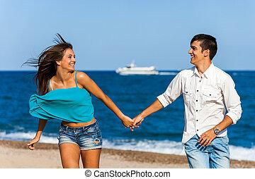 Motion portrait of happy couple