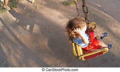 motion., powolny, dzieci, jazda, huśta się