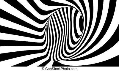 motion., raies, noir, blanc, 4k., hypnotique