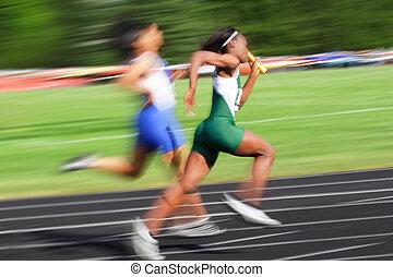 (motion, rennen, blur), stab übergabe