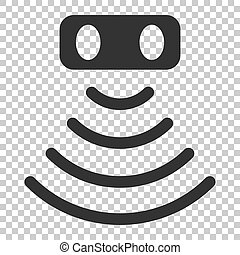 Motion sensor icon in flat style. Sensor waves vector illustration on isolated background. Security connection business concept.