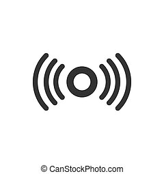 Motion sensor icon in flat style. Sensor waves vector illustration on white isolated background. Security connection business concept.
