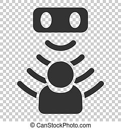 Motion sensor icon in flat style. Sensor waves with man vector illustration on isolated background. People security connection business concept.