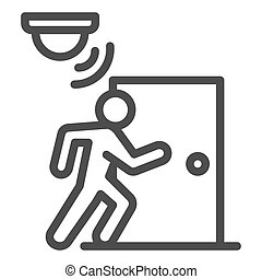 Motion sensor with walking man near door line icon, smart home symbol, guard motion detection vector sign on white background, thief burglar alarm device icon outline style. Vector graphics.