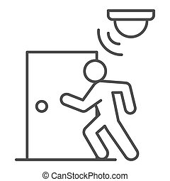 Motion sensor with walking man near door thin line icon, smart home symbol, guard motion detection vector sign on white background, thief burglar alarm device icon outline style. Vector graphics.