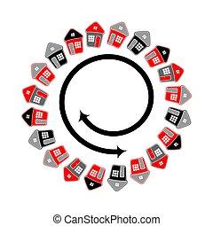 motion., simbolico, forma., spirale, case, cerchio, linea