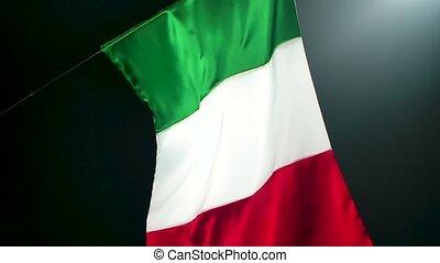 motion., sombre, studio., drapeau italie, mouches, lent, beautifully, backlit