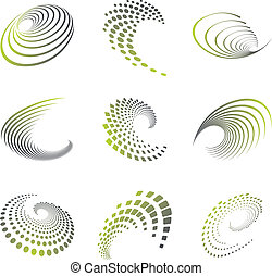 Motion symbol wave set - Set of nine abstract wave icons and...