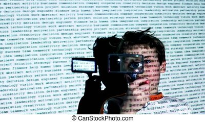 Motion text projection on boy which moves magnifying glass...