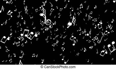 Motion the musical notes. Black background - Motion the...