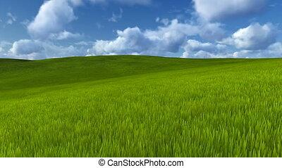 Motion through green hills - Camera moves to horizon through...