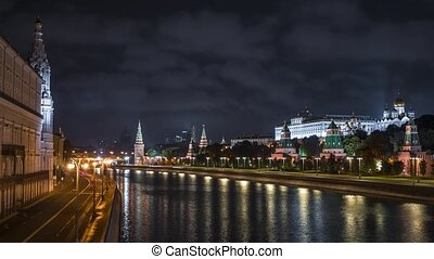 Motion Timelapse shot of the embankment of the Moscow river. Russia.