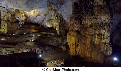 motion to brightly lit back wall of Paradise Cave incredibly...