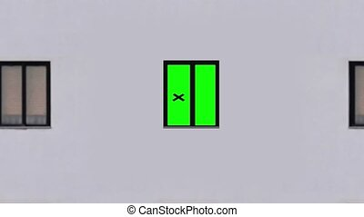 Motion to modern multi-storey dwelling building with green chromakey window under blue sky zoom in extreme closeup combined shot