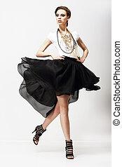 motion., vitality., 豪華, supermodel, 在, 顫動, 時裝, dress., 動擺