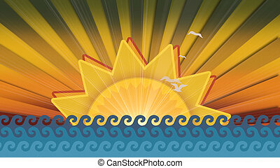 Motion waves and sun with birds, summer background