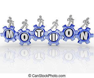 Motion Word Gears Workers Progress Forward