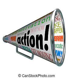 motiváció, misszió, bullhorn, szavak, akció, hangszóró