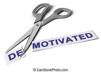 motivé, démotivé, concept, vs