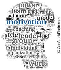 motivação, conceito, em, palavra, tag, nuvem