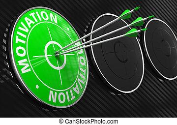 motivação, conceito, ligado, verde, target.