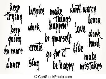 motivação, mão, desenhado, ditados