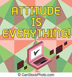 motivação, negócio, foto, mostrando, otimismo, escrita, nota, atitude, importante, everything., showcasing, succeed., inspiração