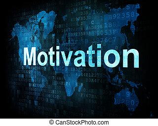 motivação, tela, trabalho, pixelated, palavras, digital,...