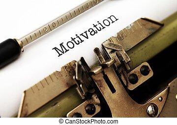 motivação, texto, ligado, máquina escrever