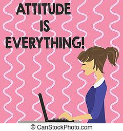 motivação, texto, mostrando, otimismo, sinal, atitude, importante, everything., foto, conceitual, succeed., inspiração