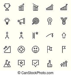 motivación, conjunto, línea, iconos