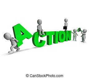 motivado, caráteres, atividade, ação, ou, proactive, mostra
