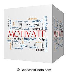 Motivate 3D cube Word Cloud Concept