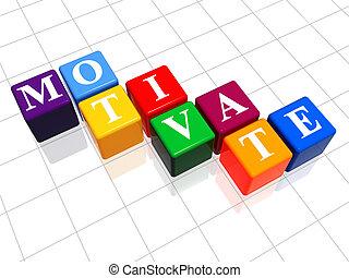 motivate in colour - 3d colour boxes with text - motivate,...