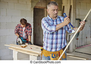 Motivated carpenter and hammer in the main plan
