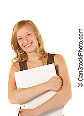 Motivated Intern - A young handsome woman carrying some...
