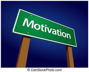 motivatie, groene, straat, illustratie, meldingsbord