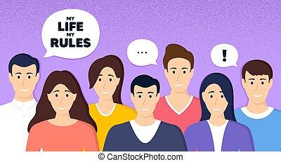 motivatie, motivational, leven, slogan., vector, regels, message., mijn